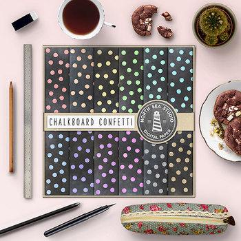 Chalkboard Confetti Digital Paper, Chalkboard Backgrounds