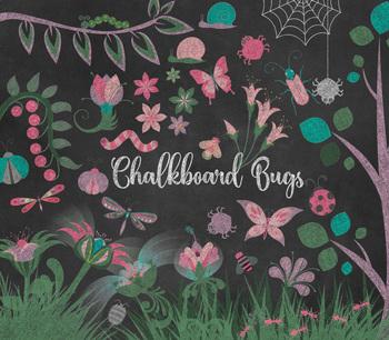 Chalkboard Cute Bugs clipart, png blackboard chalk butterfly, dragonfly, worms