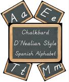Chalkboard D'Nealian Spanish Alphabet