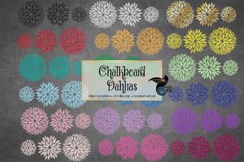 Chalkboard Dahlias Clipart