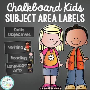 Chalkboard Daily Objective Subject Area Labels Freebie