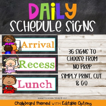Chalkboard Daily Schedule Signs {Chalk Themed} EDITABLE