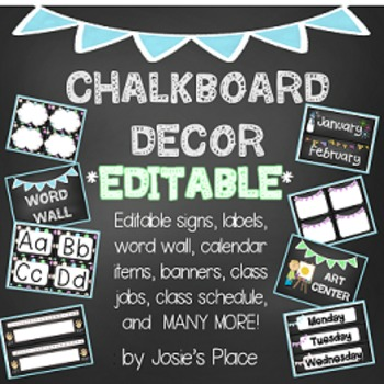 Chalkboard Decor EDITABLE Labels, Jobs, Numbers, Signs, Ca