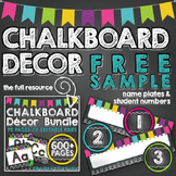 Chalkboard Decor [FREE SAMPLE] Name Plates & Student Numbers