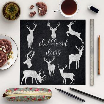 Chalkboard Deer Clip Art, Design Elements