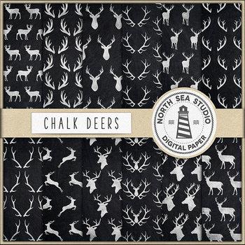 Chalkboard Deers Digital Paper, Deers & Antlers Patterns {Pretty Graphics}