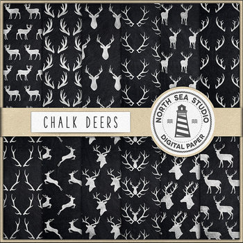 Chalkboard Deers Digital Paper, Deers & Antlers Patterns, Chalkboard Background