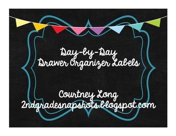 Chalkboard Design Drawer Organizer Labels - Days of Week
