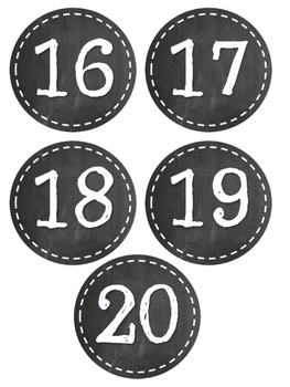 Chalkboard Desk Numbers