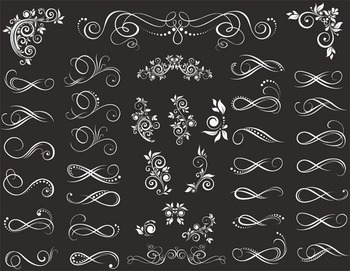 Chalkboard Digital Border Divider Ornate Clip Art Flourish Swirls Border