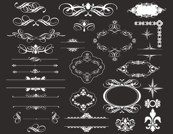 Chalkboard Digital Flourish Swirl Border Frame Ornate Clip Art Scrapbook Decor