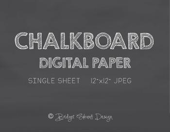 Chalkboard Digital Paper, Commercial Use, 12 x 12 Inch 300