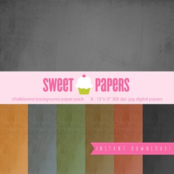 Chalkboard Digital Paper Pack - by Sweet Papers