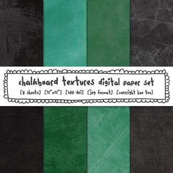 Chalkboard Digital Paper Set, Chalkboard Texture Backgrounds