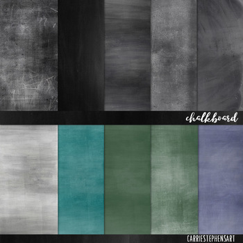 Chalkboard Digital Papers, Dusty Chalk Board Backgrounds, Back to School Green