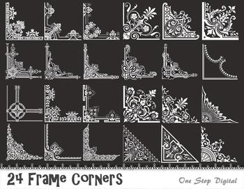 Chalkboard Digital Vintage Frame Corner Flourish Swirl Border Corner Clip Art