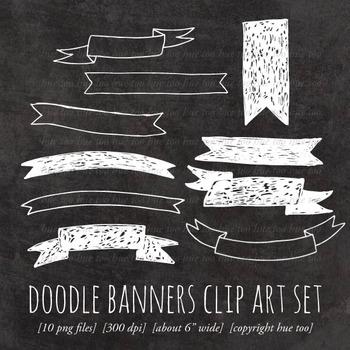 Chalkboard Doodle Banners Clip Art, Chalk Drawn Ribbon Cli