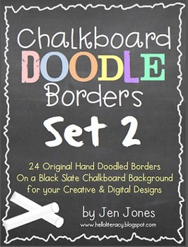 Chalkboard Doodle Borders Bundle - Set 2 {For Personal & Commercial Use}