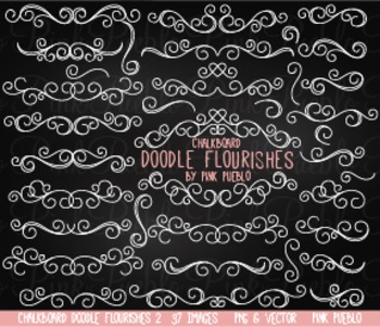 Chalkboard Doodle Flourishes Swirls Clipart Clip Art - Commercial & Personal Use