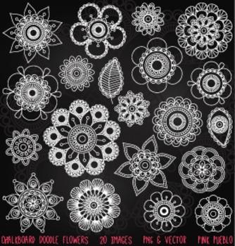 Chalkboard Doodle Flowers Clipart Clip Art, Chalk Doodle Mandala Clip Art