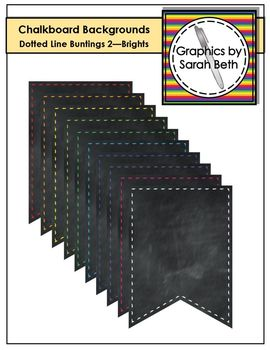Chalkboard Dotted Line Bunting Backgrounds 2 - Brights - Banner