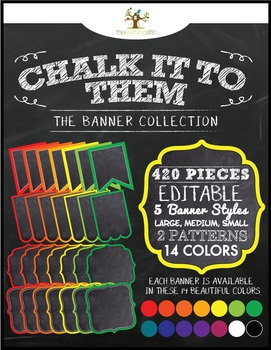 """Chalkboard Editable Bunting Banner Rainbow Colors """"Chalk it to Them Collection"""""""