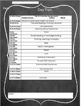 Chalkboard Editable Day Plan