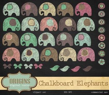 Chalkboard Elephant Clipart