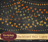 Chalkboard Fall String Lights PNG Clipart, chalk blackboard leaf clip art