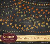 Chalkboard Fall String Lights PNG Clipart, chalk blackboard leaf clip art