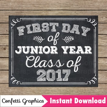 Chalkboard First Day Junior Year Class 2017 Sign 11 Grade High School College