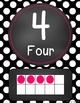 Chalkboard Flair -Black & White Polka Dot (w/ HOT PINK) Number Word Signs 0-20