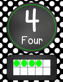 Chalkboard Flair - Black & White Polka Dot (With Lime) Number Word Signs 0-20