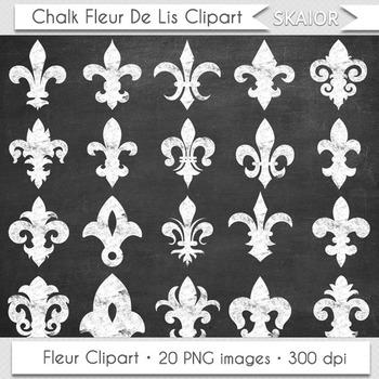 Chalkboard Fleur De Lis Clipart Heraldic White Floral Scrapbooking Silhouette
