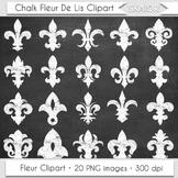 Chalkboard Fleur De Lis Clipart Heraldic White Floral Scra