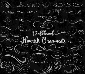 Chalkboard Flourish Ornaments clipart, chalk flourishes clip art commercial use