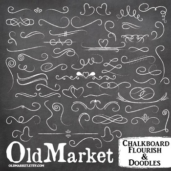 Chalkboard Clip Art-Flourish and Doodles-Chalk Designs-55 PNG and Vector Images