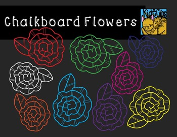 Chalkboard Flower Clip Art Accents by Kid-E-Clips Commercial and Personal Use
