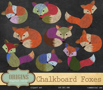 Chalkboard Foxes - PNG clipart set, Clip Art for commercial use