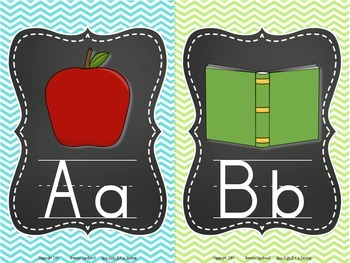 Chalkboard Frame Alphabet Cards {Chevron Background}