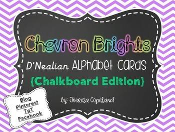 Chalkboard Frame D'Nealian Alphabet Cards