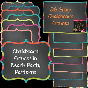 Chalkboard Frames & Borders in Beach Party Patterns