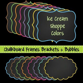 Chalkboard Frames ~ Brackets & Bubbles {Ice Cream Shoppe} for Commercial Use