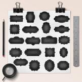 Chalkboard Frames Clipart, Chalkboard Borders, Chalk Labels