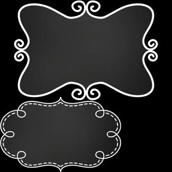 Chalkboard Frames Variety Pack ~ 26 Unique Frames & Labels for Commercial Use
