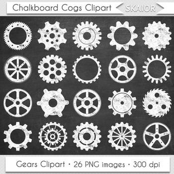 Chalkboard Gears Clip Art Cogs Clipart White Steampunk Scrapbooking Silhouette