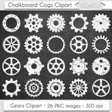Chalkboard Gears Clip Art Cogs Clipart White Steampunk Scr