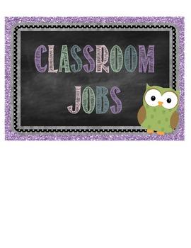 Chalkboard, Glitter, & Owls Classroom Job Clip Chart