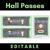 Hall Pass Set {Editable} Chalkboard Theme Clip Chart, Passes and Bathroom Displa