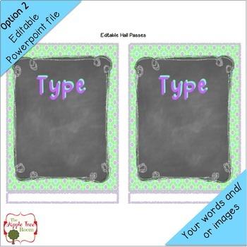 Hall Pass Set {Editable} Chalkboard Theme Clip Chart, Passes and Bathroom Displa